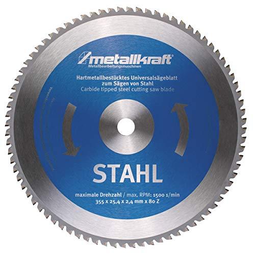 Metallkraft Sägeblatt für Stahl (ø 355 mm, Bohrung 25,4 mm, Schnittbreite 2,4 mm, 80 Z, für Metall-Trockenschneider MTS 356) 3853504