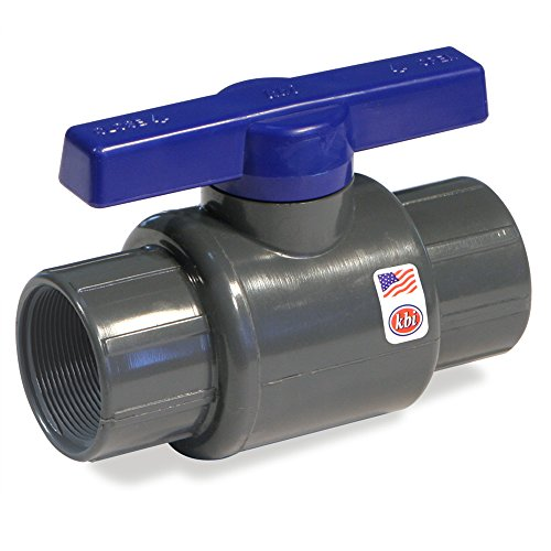 King Brothers Inc. LT-1000-T 1-Inch Threaded PVC Schedule 80 Commercial Ball Valve, Gray