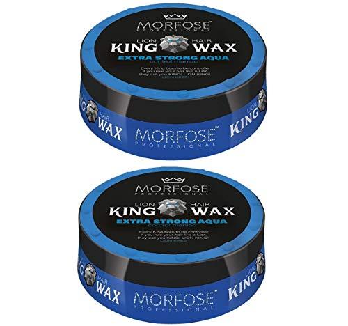 Morfose King Hair Wax 175ml Haarwachs Mad,Lion,Wise,Dark,Brave Haargel Matt Gel-Wax Haar Styling (2x Extra Strong Aqua (Blau))