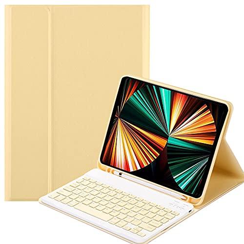 SsHhUu Funda con Teclado para 12.9' iPad Pro 2021/2020/2018 con Ranura de Lápiz, Estuche Folio con Teclado Bluetooth Inalámbrico Desmontable para iPad Pro 12.9 Pulgada, Amarillo
