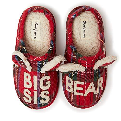 Dearfoams Kids Unisex Lil Bear Slipper, Big Sis Tartan Plaid, US 7-8 Toddler
