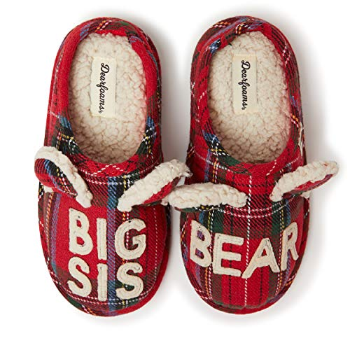 Dearfoams Family Collection Baby Bear - Pantuflas con Espalda Cerrada, Big Sis Red Plaid, 2-3 Big Kid