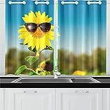 N\A Gafas de Sol con Girasol Cortinas de Cocina Cortinas de Ventana Niveles para café Baño Lavandería Sala de Estar Dormitorio 26x39 Pulgadas 2 Piezas