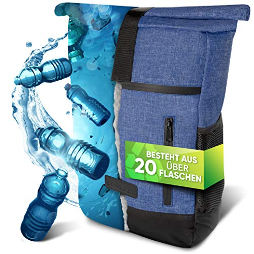 invilus ® - Rolltop Rucksack Damen und Herren aus Recycelten Plastikflaschen | Rucksack Uni | Laptop Rucksack | Tagesrucksack Damen | Rucksack Schule | Jeans Rucksack | Rucksack Wasserdicht
