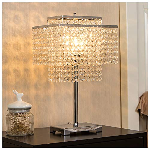 POPILION Glorious Double-Deck Crystal Table Lamp,Chrome Desk Lamp with Elegant Crystal Lamp...