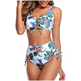 Bikinis Mujer 2020 Push up con Relleno Retro Mujeres Sujetador Conjunto de Traje de BañO Dos Piezas con Pliegues y Cintura Alta con Estampado Ropa de Playa vikinis riou