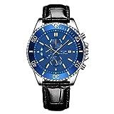 Reloj para hombre de 42 mm, con calendario de agua, para hombre, de cuarzo, de cuero, impermeable, luminoso, para hombre (color: azul azafro)
