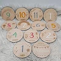 Cumplemes personalizado de madera natural, regalo bebé recién nacido