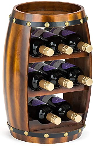 xzl Barril de madera para vino, de pie con parte superior, 8 soportes para botellas, efecto roble, regalo para amantes del vino, 27 x 27 x 49 cm
