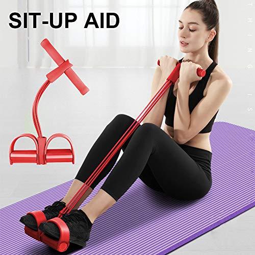 Bezioner Cuerda de Tensión Multifunción, 4 Tubos Banda de Resistencia del Pedal para Yoga, Fitness,Dominadas, Culturismo,para Gimnasio en casa Rojo