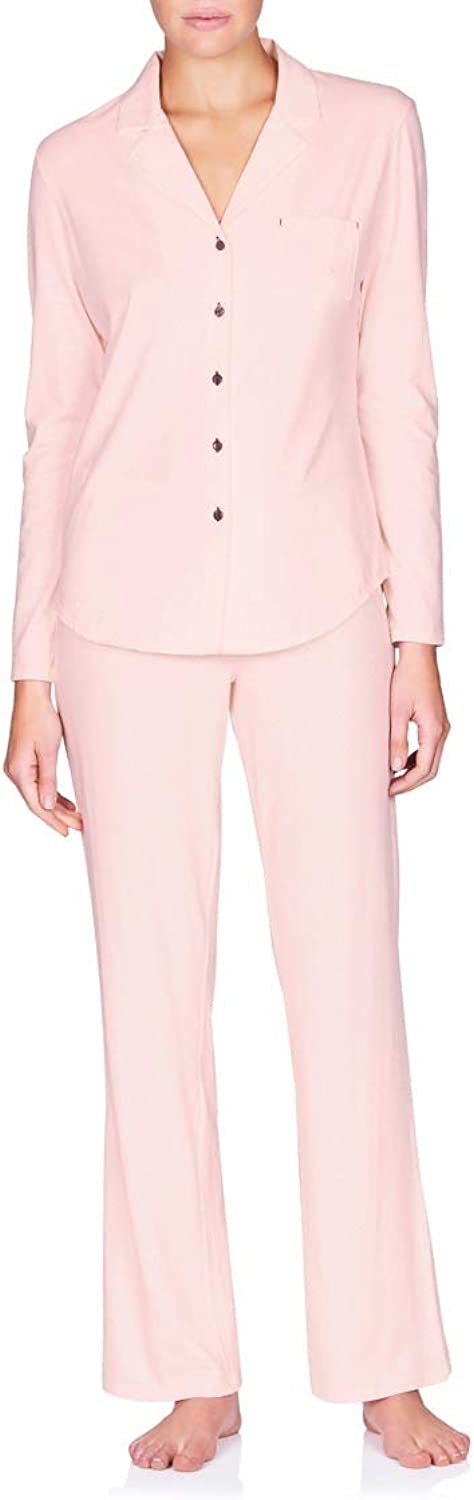 Naked Women's Essential Cotton Spandex Long Sleeve Buttonup Pajama Set