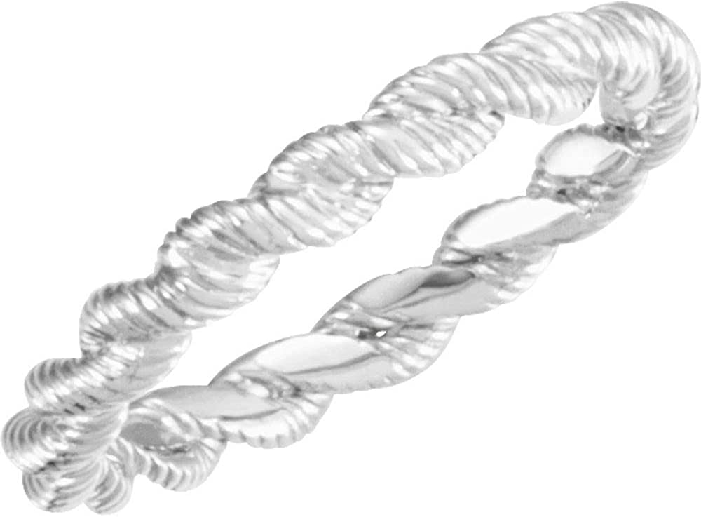 14k White Gold Twisted Rope Bridal Band Wedding Size Sales for sale shopping 7 Ring