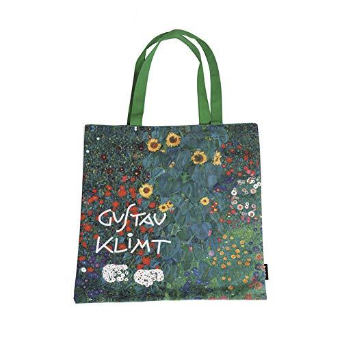 Bolsa de tela de algodón con fondo blanco y estampado de la obra El jardín de Gustav Klimt