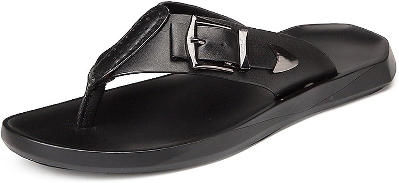 Men's Casual Flip Flops Genuine Leather Beach Slippers Non-Slip Sole Sandals Black,Flip Flop Sandals for Men