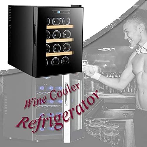 NFRMJMR Refrigerador de Vino Frigorífico Zona Simple, Pantalla de Vino Frigoríficas con Control táctil del Sensor, Control de Temperatura Digital, Mini Nevera para Oficina o Barra, Madera