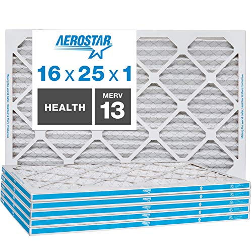 Aerostar Home Max 16x25x1 MERV 13 Pleated Air Filter, Made in the USA, 6-Pack