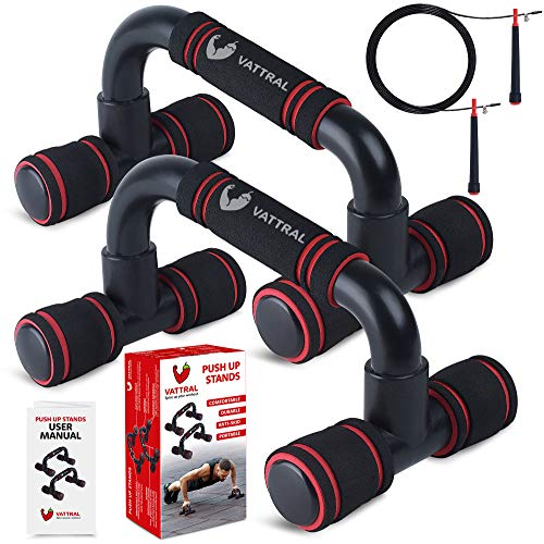 Vattral Push Up Bars – Premium Push Up Bars for Men - Strength Training Pushup Stands with Anti-Slip Foam Grip - Push Up Handles for Floor with Jump Rope and Instructions – Ideal for All Surfaces