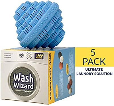 Wash Wizard - Laundry Ball (5-Pack) Washer Ball - Reusable - Detergent Alternative & Replacement