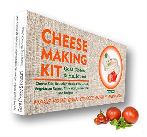 Set für 4 Käse, Ziegenkäse, Halloumi Käse, Mozzarella-Käse, Ricotta-Käse, tolles Geschenk für alle Anlässe