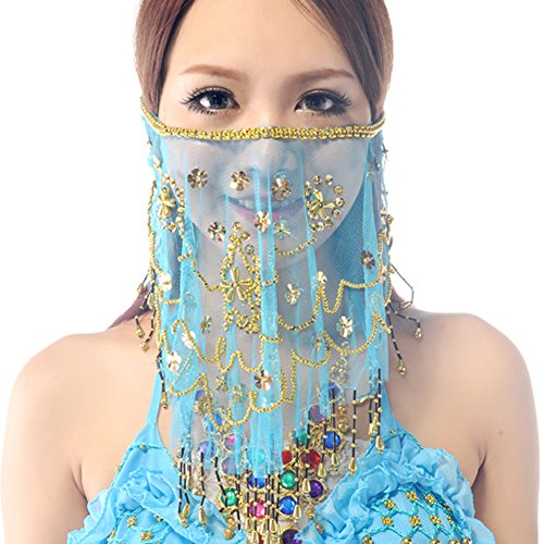 Wuchieal Women's Belly Dance Tribal Face Veil With Halloween Costume Accessory (Light Blue)
