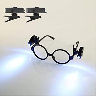 ALLOMN 2pcs MINI LED Eyeglass Reading Light Bright Night Lamp with Rotate Clip for Kids Old People Maintenance Worker