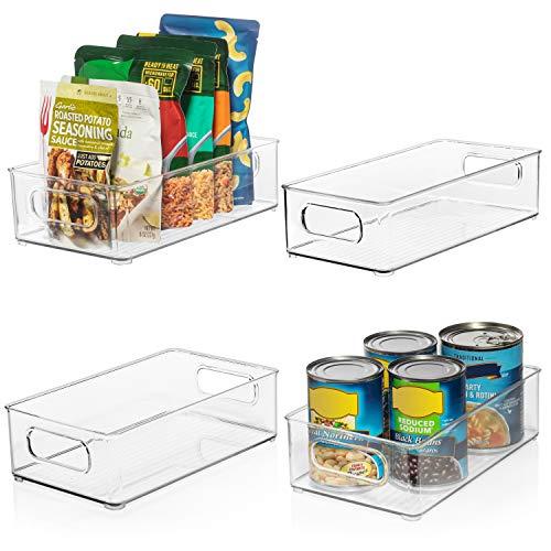 ClearSpace Plastic Pantry Organization and Storage Bins – Perfect Kitchen Organization or Kitchen Storage – Fridge Organizer, Refrigerator Organizer Bins, Cabinet Organizers - 4 Pack