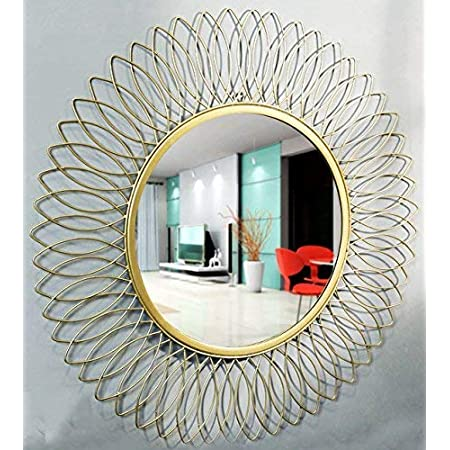 Furnish Craft Beautiful Modern Designed Sunflower Iron Decorative Wall Mirror for Living Room (24 Inches / 61 CMs)