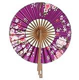 GDYX Abanico plegable Moda Sakura Flower Pocket Plegable Mano Fan Round Party Decoración Regalocomoespectáculo