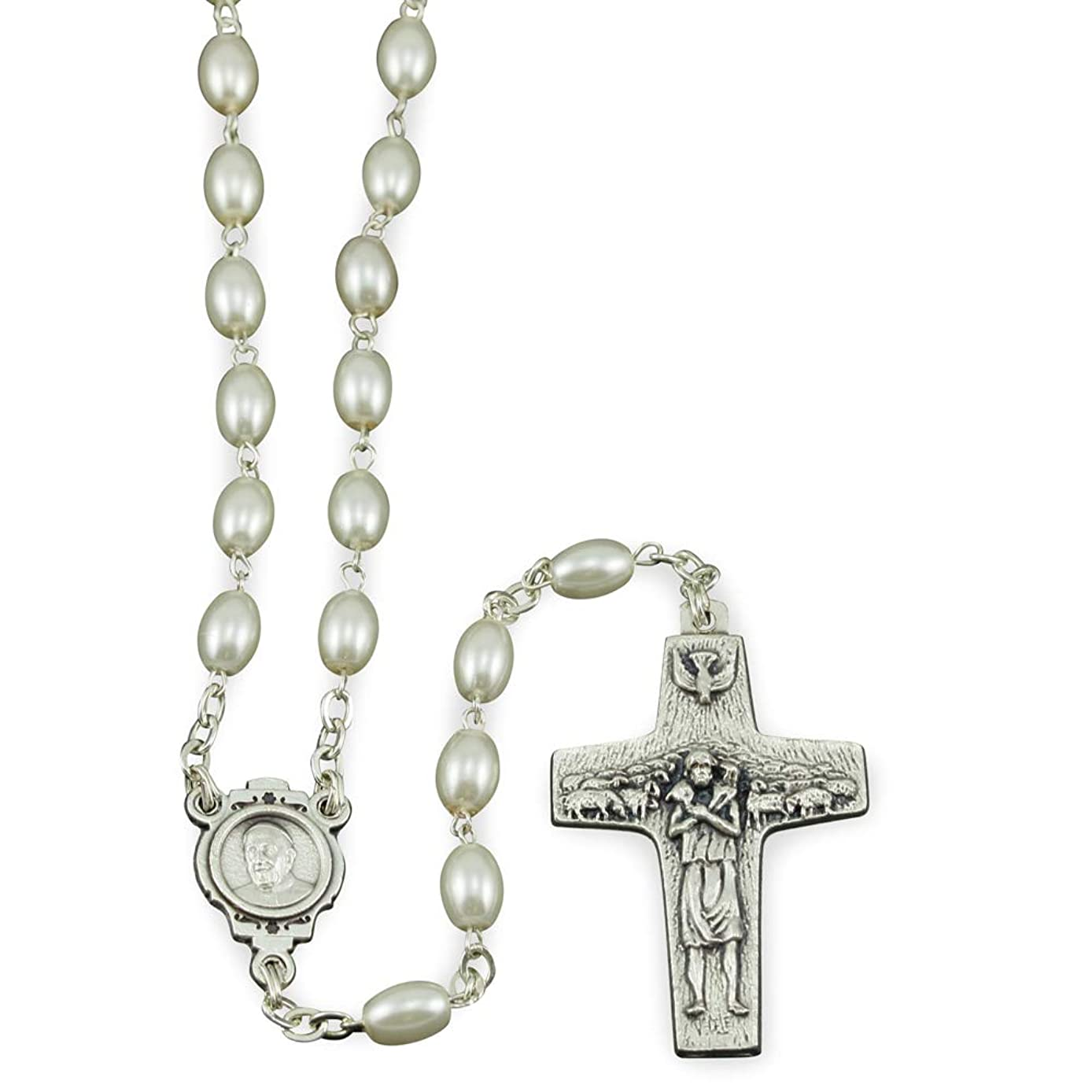 Oval White Pearl Beads Rosary