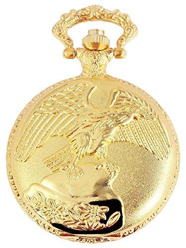 Analog Taschenuhr mit Quarzwerk mit Motiv Adler Vogel 480702000035 Goldfarbiges Gehäuse im Maße 46mm x 15mm mit Ziffernblattfarbe weiß und Mineralglas