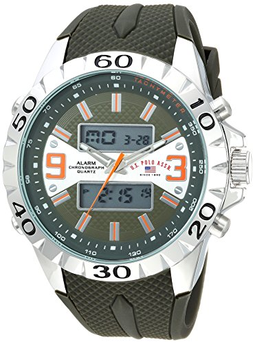 U.S. Polo Assn. Men's Analog-Quartz Watch with Rubber Strap, Green, 24 (Model: US9628)