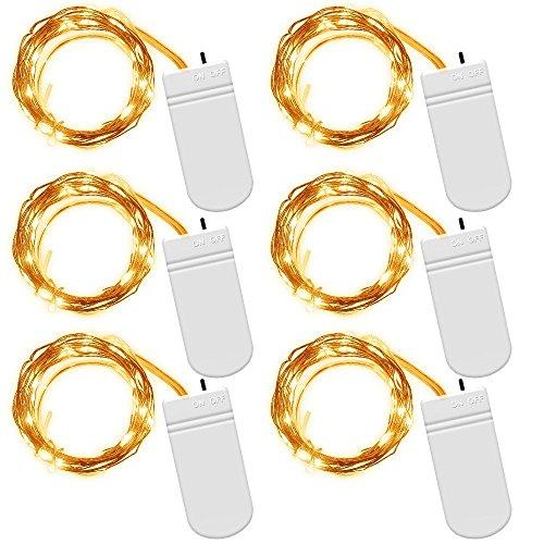 mundoGadget【6 Piezas】Tiras Led 2m 20 leds en Alambre de Cobre, De Baterías, Luces Decorativas para Eventos, Iluminación - Blanco Cálido (Blanco cálido)