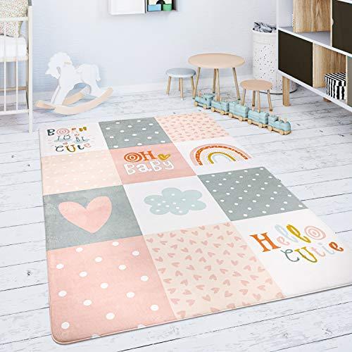 Paco Home Kinderteppich Teppich Kinderzimmer Spielmatte Rauten Sterne Grau Rosa Weiß, Grösse:120x160 cm