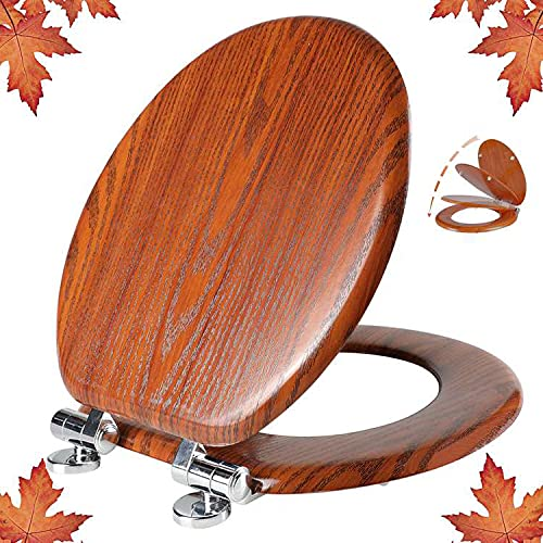 Round Toilet Seat Molded Wood Toilet Seat with Quietly Close and Quick Release Hinges, Easy to Install also Easy to Clean by Angol Shiold (Round, Brownish Red)