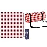 rismart Manta de picnic para playa, cubierta de suelo y doble capa gruesa, resistente al agua, portátil, color rojo y blanco, 200 x 200 cm