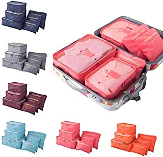 6pcs Set Travel Storage Bag Portable Packing Luggage Organizer for Clothes Sorting Laundry Bags Compression Pouches Multifunctional Storage Case Multicolor