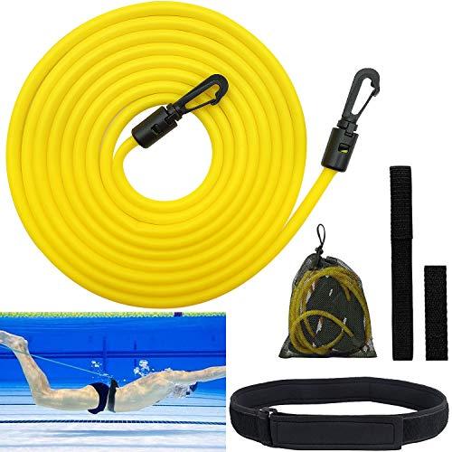 Pool Schwimmgürtel Einstellbare, Schwimmtrainer Schwimmwiderstand Gürtel für Kinder & Erwachsene, 4 m Schwimmtraining Gürtel für Jeden Pool Geeignet (Gelb)