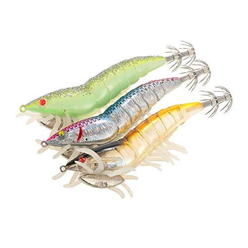 Lixa-da Pesca con Esche Artificiali 3pcs 12cm 21g Nottilucenti Pesca Gamberetto Esca Gamberi Calamari Esca Pesca Artificiale Rigido Set