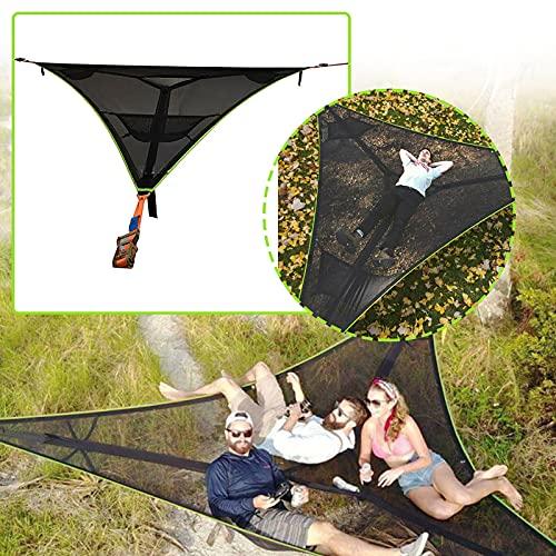 Hamaca gigante aérea de camping – Hamaca portátil para múltiples personas, diseño de 3 puntos, multipersona-portátil al aire libre, hamaca triangular, casa de árbol y tienda de campaña