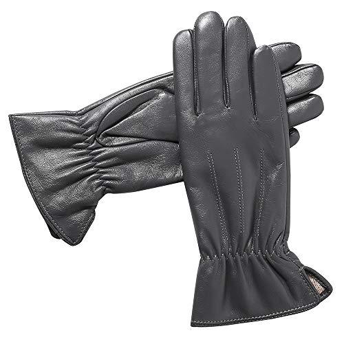 Acdyion Damen Warmes Winter Lederhandschuhe Touchscreen Texting Fahren Klassische Gefüttert Kaschmirfutter Handschuhe für Frauen (Large, Grau)