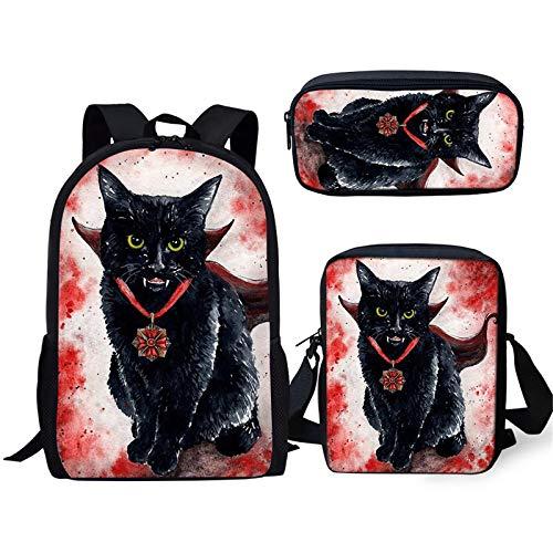 YUNSW wasserdichte Schultasche Für Jungen Mit Gotischem Katzendruck, Geeignet Für Den Schulgebrauch, 3D-Katzenschulrucksack-Lunchpaket-Federmäppchen, Schultasche Für Mädchen In Der Grundschule