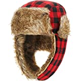 SATINIOR 2 Pack Winter Trooper Hat Plaid Trapper Hat Hunting Hat for Men and Women Skiing