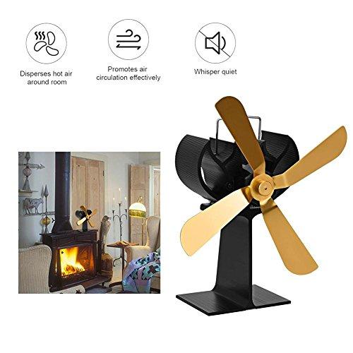 Brownrolly Stroomloze ventilator voor open haard, gouden 4-blad-houtkachelventilator, geluidsarme werking en efficiënte warme lucht in de hele ruimte