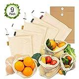 Oladwolf Obst- und Gemüsebeutel, wiederverwendbar, 9er Set