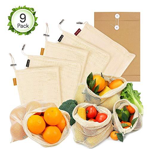 Oladwolf Gemüsebeutel Wiederverwendbar, 9er Set Obst und Gemüse Beutel Zero-Waste Plastikfrei, Gemüsenetz 100% Bio Baumwolle Waschbar und Atmungsaktiv Ohne BPA