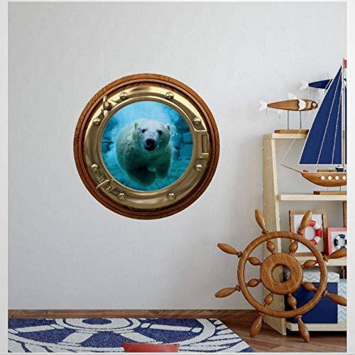 Adhesivo decorativo para pared con diseño de oso polar y ojo de buey en 3D, diseño de mar blanco, ideal para decoración del hogar, para cuarto de niños, baño, nevera (45 cm de diámetro)