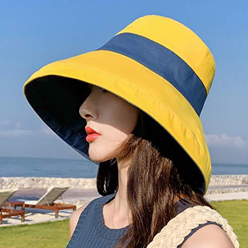 Sun Hat Straw Hat Bucket Hat Women Cotton Leisure Caps Outdoor Sports Casual Dome Panama Cap-Yellow