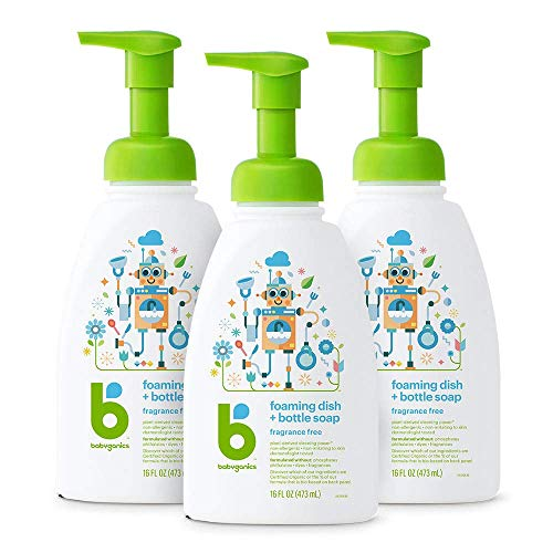 Babyganics Foaming Dish & Bottle Soap, Pump Bottle, Fragrance Free, 16oz, 3 Pack, Packaging May Vary