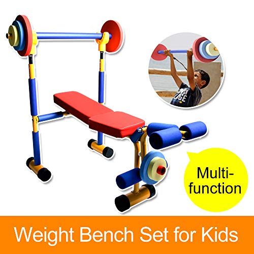 Akicon Kids Exercise Equipment - Adjustable Toy Weight Bench Set Workout Bench Press