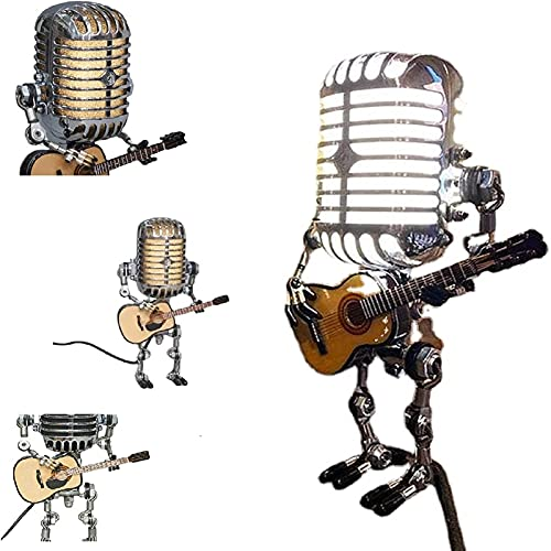 Lampada Da Tavolo Robot Vintage Microfono - Lampada Da Scrivania a Energia Solare Robot Con Una Chitarra, Lampada Led Steampunk Divertente Creativa Decorare (Con Luce)